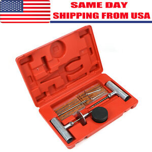 35pc Diy Tire Repair Kit Plug Patch Flat Set Tubeless Car Truck Motorcycle