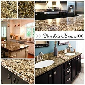 Countertop Stone Paint Kit Kitchen Bathroom Polish Granite Makeover Brown