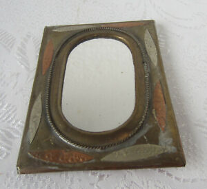 Antique Mirror Brass Copper Hand Made Ornate Frame Art Small Metal 1
