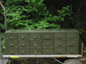 Vintage Steel 18 Drawer Parts Hardware Cabinet Chest