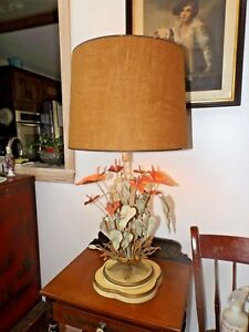 Vintage 1960 S Mid Century Tole Toleware Hand Made Italy Brass Lily Table Lamp