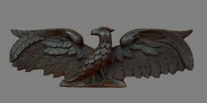 17th C French Hand Carved Oak Wood Bird Dove Eagle Pediment Panel Scupture