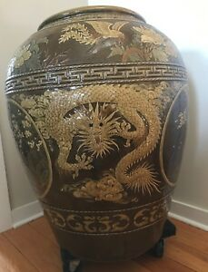 Asian Vase With Dragon Lotus And Phoenix Perfect Condition