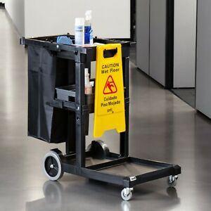 Lavex Gray Janitorial Cleaning Cart Janitor Cart With 3 Shelves And Vinyl Bag