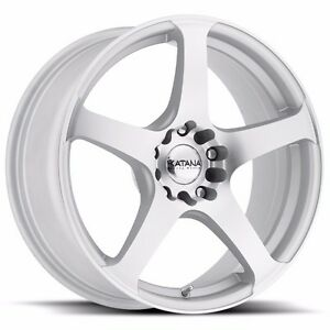 4 New Katana Wheels Kr34 17x7 5 4x100 4x114 3 40 Matte Silver Machine