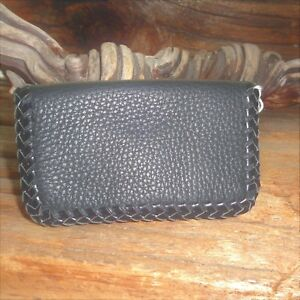 Handmade Black Leather Laced Card Case Made In U s a