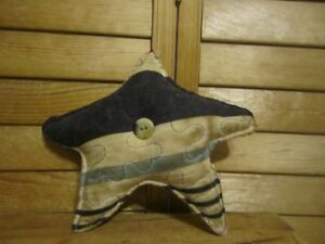 Primitive Americana Quilted Star White Blue 21