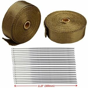 2 Rolls 2 X 50ft Thermal Header Pipe Tape Titanium Lava Exhaust Wrap 20 Ties Kit