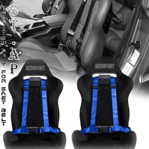 Universal 2x Jdm One 4 Point Racing Safety Harness 2 Inch Strap Seat Belt Blue