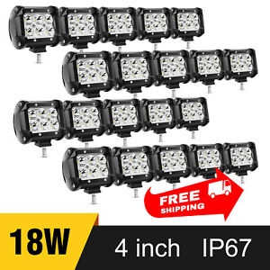 20 Pcs 4 Inch 18w Led Light Pods Off Road Light Bar For Jeep Suv Atv Trucks Boat