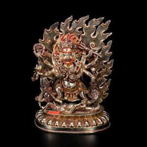 8 Nepal Old Tibet Copper Shah Dynasty 18th Six Arm Mahakala Buddha Statue