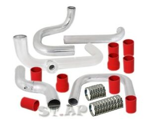 Civic integra Eg Bolt On Turbo Intercoole Piping Kit Pipe Chrome red bov Flange