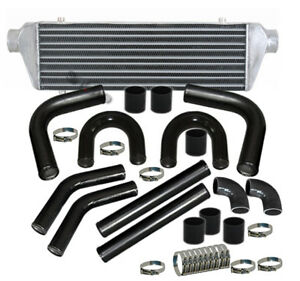 28 Turbo Bar plate Intercooler Chrome 2 5 Black Piping U pipe Kit Blk Coupler