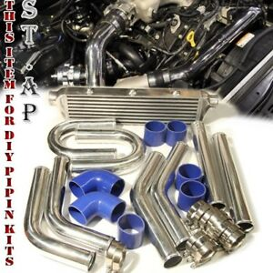 28 Turbo Bar plate Intercooler 2 5 Chrome Piping U pipe Kits W Blue Couplers