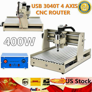 Top 3040t 4axis Cnc Router Engraver Machine 3d Cutter Wood Drilling Carving