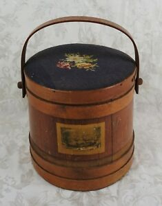 Antique Firkin Wooden Basket Sewing Box Storage Primitive Sugar Bucket W Handle
