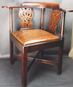 Antique Chippendale Chinese Courtship Corner Chair Wood Leather