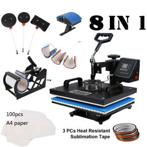 Digital Sublimation Heat Press Machine 8in1 For T shirt W Transfer Paper