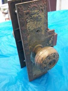 Indiana Farm House Find Large Vintage Brass Door Latch And Knob Set Victorian