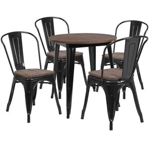 26 Round Black Metal Restaurant Table Set With Walnut Wood Top And 4 Chairs