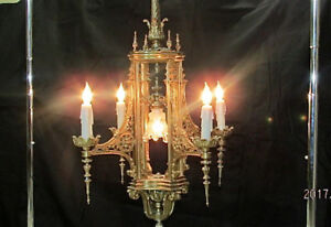 Antique Victorian Castle Gothic Chandelier Hanging Lamp Candle Light