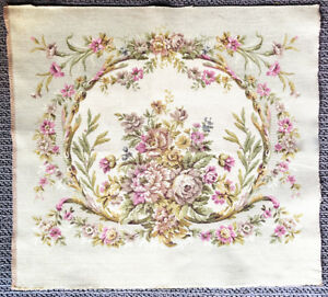 Vintage 1930 S French Tapestry Floral Pattern Chair Back Panel