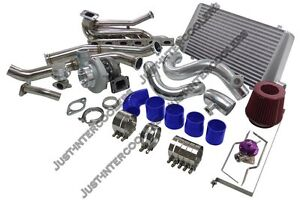 Gt35 Turbo Kit Intercooler Manifold Downpipe For 92 98 Bmw E36 Top Mount