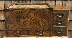 Antique Chinese Tea Caddy Country Store Wooden Display Counter Top Cabinet