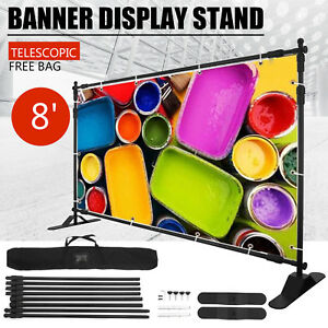 Heavy duty Step And Repeat Backdrop Telescopic Banner 8 x8 Stand Adjustable