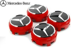 Mercedes Benz Oem Genuine Center Wheel Caps Red Black Chrome 4 Pieces Full Set