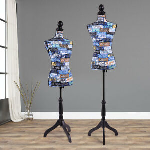 Fashion Female Mannequin Torso Dress Form Display W black Tripod Stand Designer
