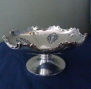 Edwardian Art Nouveau English Sterling Silver Tulip Design Pedestal Bowl