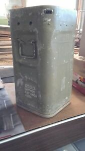 vintage Military ammo box metal for rockets empty container with pockets