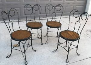Vintage Ice Cream Parlor Chairs W Wrought Iron Twisted Metal Wood Milwaukee Area