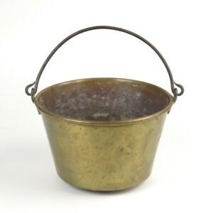Antique Brass Jelly Kettle Fireplace Bucket Pail Iron Handle H W Hayden