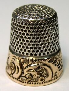 Antique Ketcham Mcdougall Gold Band Sterling Silver Thimble Scrolls C1890s