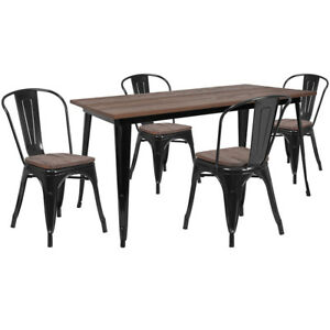 30 25 X 60 Black Metal Restaurant Table Set With Walnut Wood Top And 4 Chairs