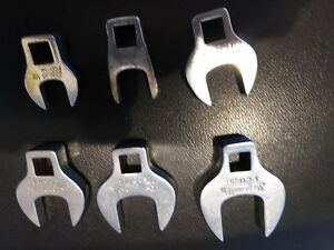 6 Pc Snap On 3 8 Drive Sae Open End Crowfoot Wrench Set