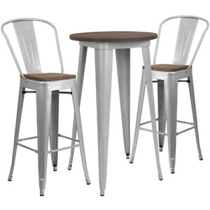 24 Silver Metal Bar Height Restaurant Table Set Walnut Wood Top And 2 Barstools