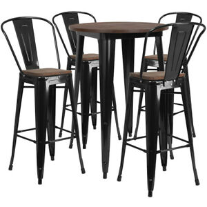 30 Black Metal Bar Height Restaurant Table Set Walnut Wood Top And 4 Barstools