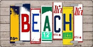 Beach Metal Novelty License Plate Tag