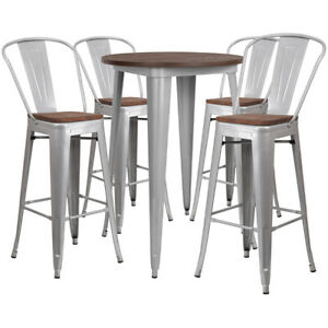 30 Silver Metal Bar Height Restaurant Table Set Walnut Wood Top And 4 Barstools