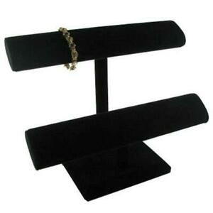Oval Bracelet Display T bar Wide Double Tier Stand Black Velvet