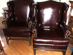 Pair Of Hancock Moore Leather Wing Back Chairs