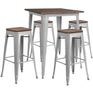 31 5 Silver Metal Bar Height Restaurant Table Set Walnut Wood Top