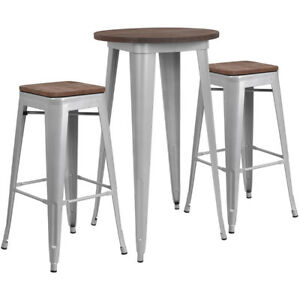 24 Silver Metal Bar Height Restaurant Table Set Walnut Wood Top And 2 Barstool