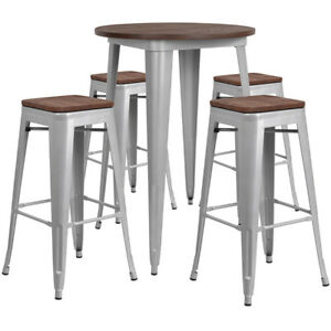 30 Silver Metal Bar Height Restaurant Table Set Walnut Wood Top And 4 Barstool