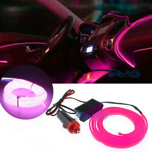 2m Pink El Wire Car Atmosphere Light Fluorescent Neon Strip Cold Tape For Vw