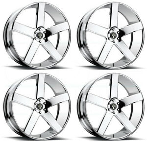 4 New 26 Dub Baller S115 Wheels 26x9 26x10 5x5 5x127 15 20 Chrome Staggered Rim