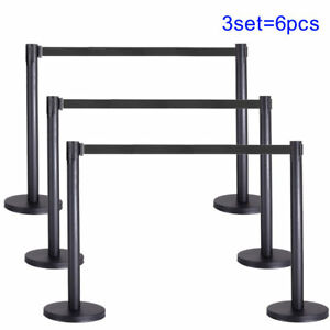Top 3 Set Post Barrier Stainless Steel Black Line Belt Retractable Crowd Control